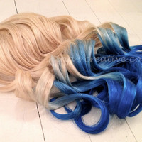 "Mermaid Hair, Ombre Hair Extensions, DipDye/Reverse Ombre, Blonde and Ocean Blue Dip Dye/(7) Pieces//18""/Double Wefted"