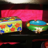 CLOISONNE VINTAGE SET OF 2  EMERALD GREEN !PERFECT GIFT!