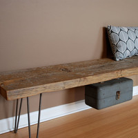 "Industrial bench w/ mid century steel Hairpin legs (1.65"" Standard Top, 3ft x 11.5""w x 18""h) Ships quick"
