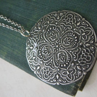 Medallion Necklace - Antiqued Silver Solid Filigree Meadallion Pendant Necklace Silver Chain