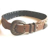 Vintage Mexican Alligator Print Leather Belt Pony Skin & Studs