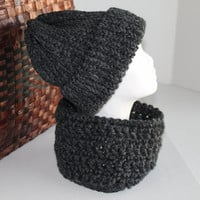 His or Her - Hat and Infinity Scarf / Cowl Set - Charcoal - Acrylic/Wool Blend