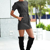 Herringbone Button Dress