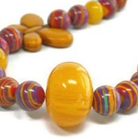 Southwestern Copal Amber Butterfly Necklace, Colorful, Summer, Multicolor, Orange, Chunky, Eco Friendly - epicetera