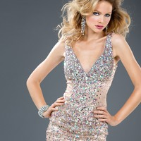 Jovani 73633 Beaded V-Neck Dress