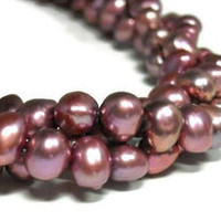 Blush Pink Freshwater Pearl Necklace, Multistrand, Chunky, Triple Strand, Twisted - epicetera