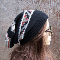 Bohemian slouchy beanie handmade recycled sweater hat tribal ethnic patterned black stripe upcycled eco clothing accessories unisex