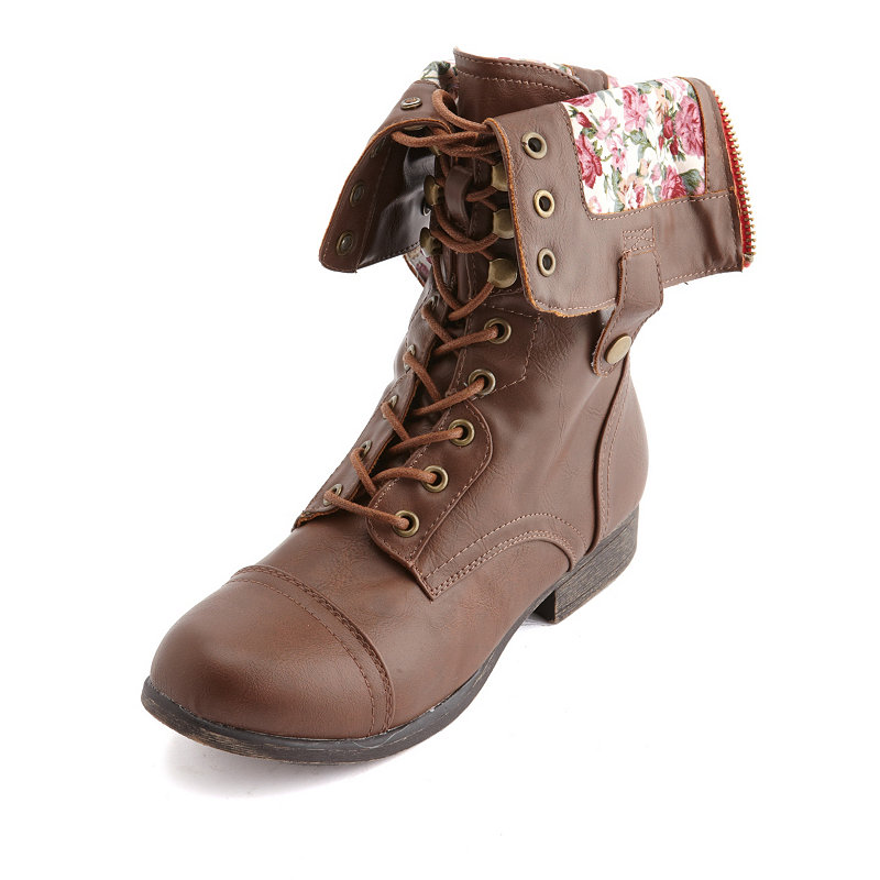 Product Features Lace-up floral combat boot featuring ribbed midsole and faux fur lining.