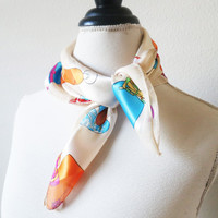 ON SALE - Satin Scarf Vintage Style Print Scarf Retro Fashion Headband - Stylish Scarf Accessories for Women