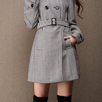 Belted Double Breasted Wool Coat Winter Coat for Women, Women Belted Trench Coat Sku1020