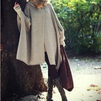 Fur Collar Coat Winter Coat / Woman Wool Long Knitted Coat Sweater Sku1042
