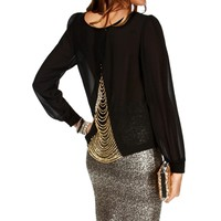 Black Chain Back Blouse