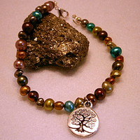 Multicoloured Freshwater Pearl,Tree of Life charm, Handmade Goddess Bracelet