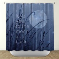 **  Love You to the Moon ** Shower Curtain Artistic Designer from DiaNoche Designs by Arist Monika Strigel Home Décor and Bathroom Ideas -
