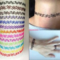 Vintage Stretch Tattoo Choker Bracelet Retro Henna Black Purple Elastic 80s 90s