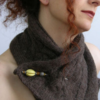cable knit scarflette cowl neck wrap neck warmer scarf coffee dark brown wool alpaca unisex fall winter teamt