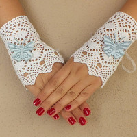 wedding glove, gloves, cotton lace glove, something blue, Free Ship