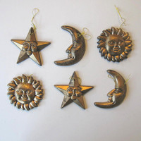 Lot of 6 vintage Celestial Christmas ornaments, Home and Living, Home Decor, Holiday decorations