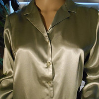 ON SALE Vintage 80's-90's Gold Metallic Blouse by Danny & Nicole