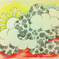 "Watercolor Painting & Ink Drawing - Clouds and Sunshine - Trippy and Colorful - 140 lb paper - 15"" x 11"""