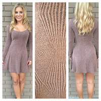 Pink Long Sleeve Diamond Skater Dress