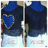 Leopard Heart back Lace Crop Top