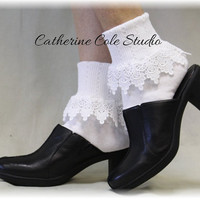 LOVELY LACE in White, Lace Socks women socks lacey socks short boot socks ladies hosiery lace cuff socks by Catherine Cole Studio SL59