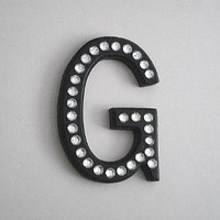 BLACK & BLING LETTER - Personalized black letter, initials or words w/ clear rhinestones for wall hanging