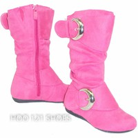 SOoO Cute! Girls Tall 2 Buckle Boots *Flat Comfy Casual Kids Shoes