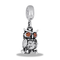 Crystal Owl Silver Dangle for Charm and Bead Necklaces or Bracelets (HH25-7)