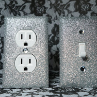 SET of SILVER GLITTER Switch Plates / Outlet Covers Any Styles