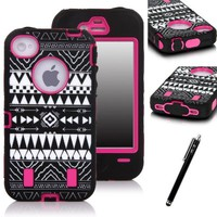 E-LV Unique Tribal Stylish Design Hard Soft High Impact Hybrid Armor Defender Case Combo for Apple iPhone 4 4S 4G 4th Generation with 1 Black Stylus and Microfiber Digital Cleaner - Hot Pink