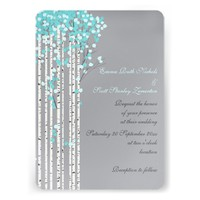 Birch trees aqua, peach, grey wedding custom announcement