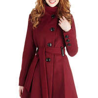 Winterberry Tart Coat in Burgundy | Mod Retro Vintage Coats | ModCloth.com