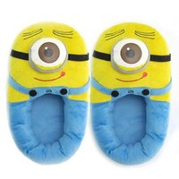 Triline Despicable Me Plush Soft Minion Shoes Slippers Stewart One-eyed Minion 11""