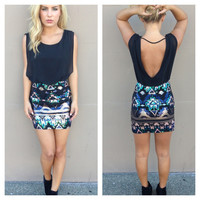 Aztec Sequin Mini Dress