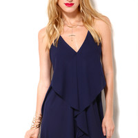 Draped Back Mini Dress in Navy