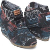 Black Jacquard Women's Desert Wedges