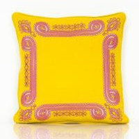 www.roomservicestore.com - Exotic Marigold Border Embroidered Pillow (Out of Stock)