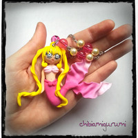 Mermaid Melody Pichi Pichi Pitch necklace / pendant charm of Luchia Nanami in Polymer Clay / Fimo