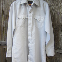 70s Panhandle Slim Pinstriped Silver White Cowboy Dress Shirt, Men's L // Vintage Country Western Shirt