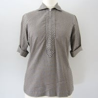 50s Checked Zip Blouse, S // Vintage Short Sleeve Straight Hem Shirt