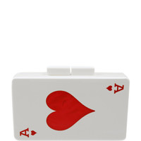 Monogram Customizable Ace Of Hearts Clutch In Red by Urania Gazelli for Preorder on Moda Operandi