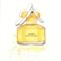 Marc Jacobs Daisy Eau de Parfum - Watercolor Perfume bottle illustration