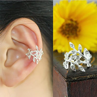 NT0176 Leaves no pierced earrings flash diamond