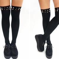 Silver Stud Knee High Socks