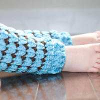 Aqua & Brown Girly Leg Warmers