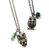 Slytherin Feathered or Spotted Owl Necklace