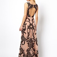 ASOS BLACK Embroidered Maxi With Open Back