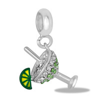 Crystal Cocktail Glass & Lime Dangle for Charm and Bead Necklaces or Bracelets (HH95-9)